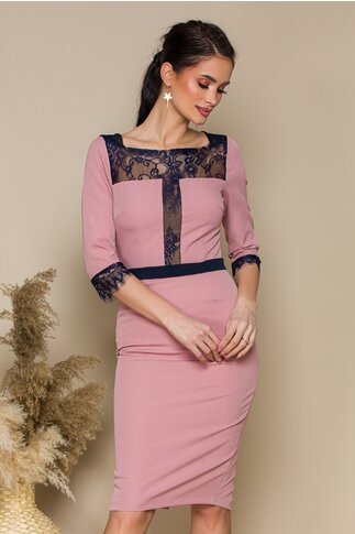 Rochie MBG roz accesorizata cu dantela