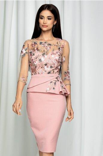 Rochie MBG roz cu broderie florala gri la bust si peplum elegant
