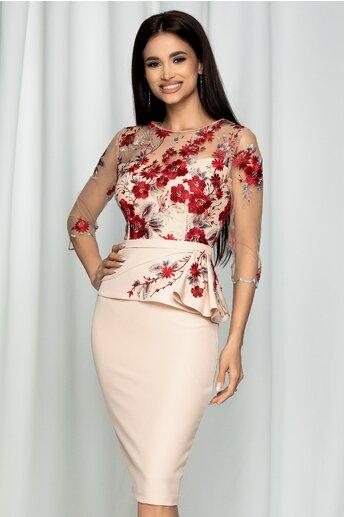 Rochie MBG roz cu broderie florala rosie la bust si peplum elegant