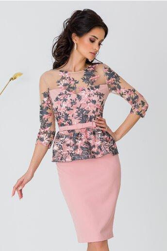 Rochie MBG roz cu broderie florala si peplum