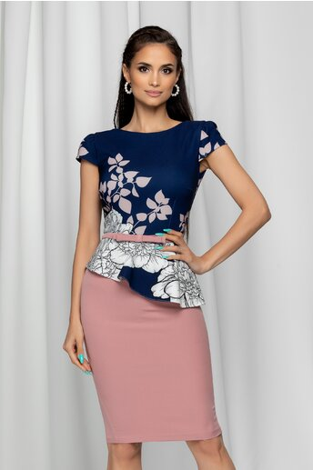Rochie MBG roz cu bust bleumarin si imprimeu floral