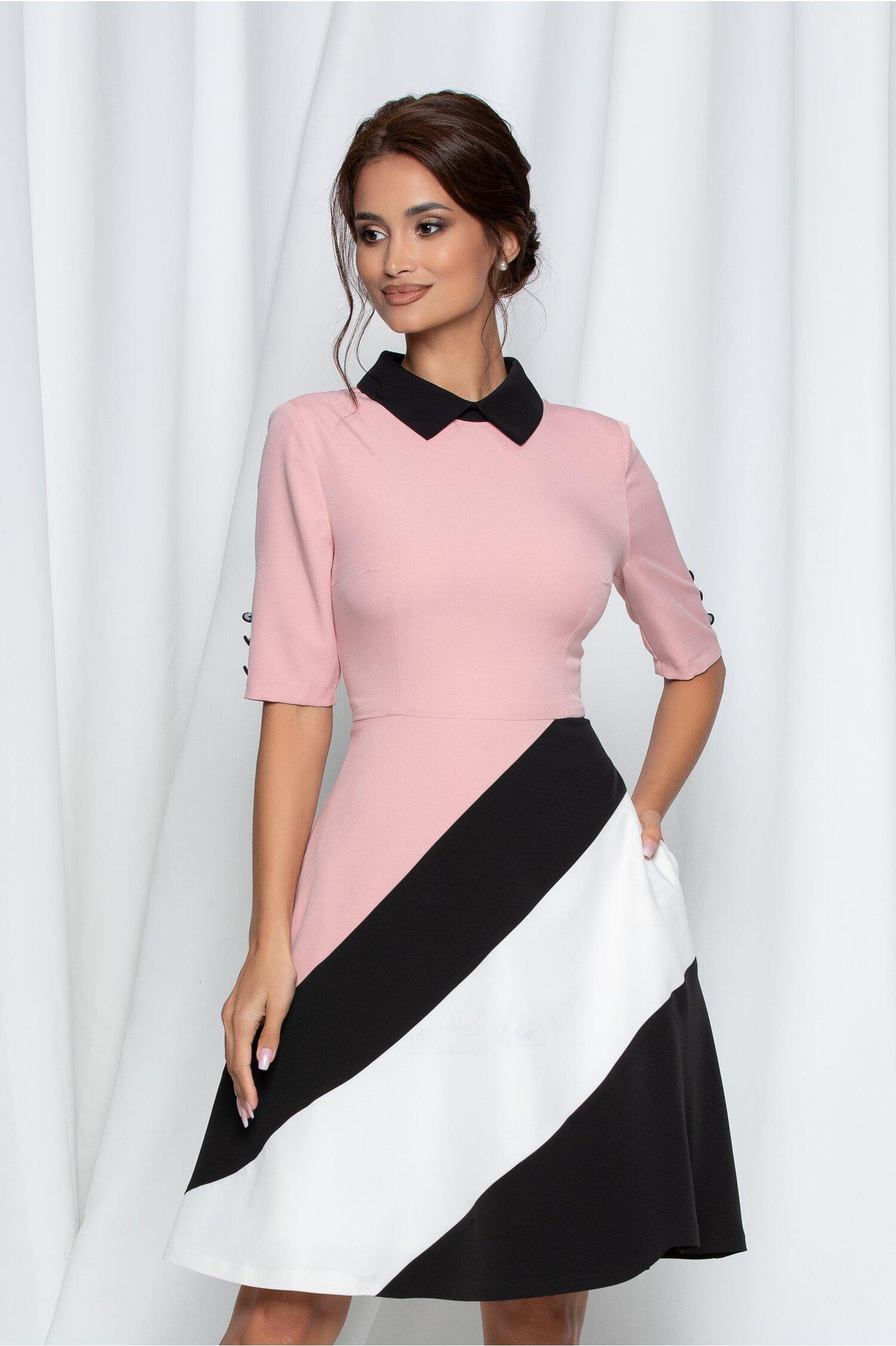 Rochie MBG roz cu dungi maxi in partea de jos