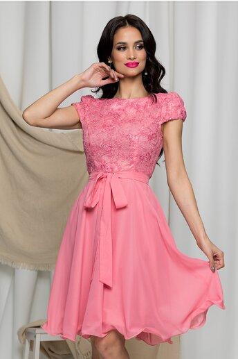 Rochie MBG roz din voal cu broderie florala la bust