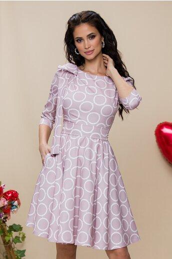 Rochie MBG roz pudra cu cercuri albe