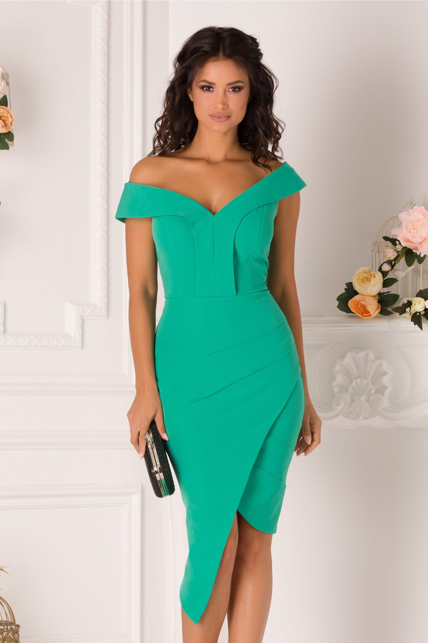 Rochie Sally verde cu design petrecut