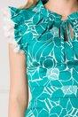 Rochie MBG turcoaz cu imprimeuri florale si volane la maneci