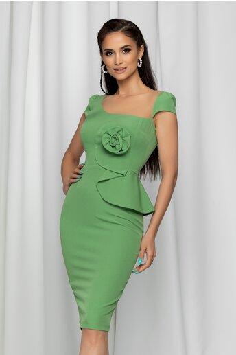 Rochie MBG verde cu aplicatie florala la bust si tull la decolteu