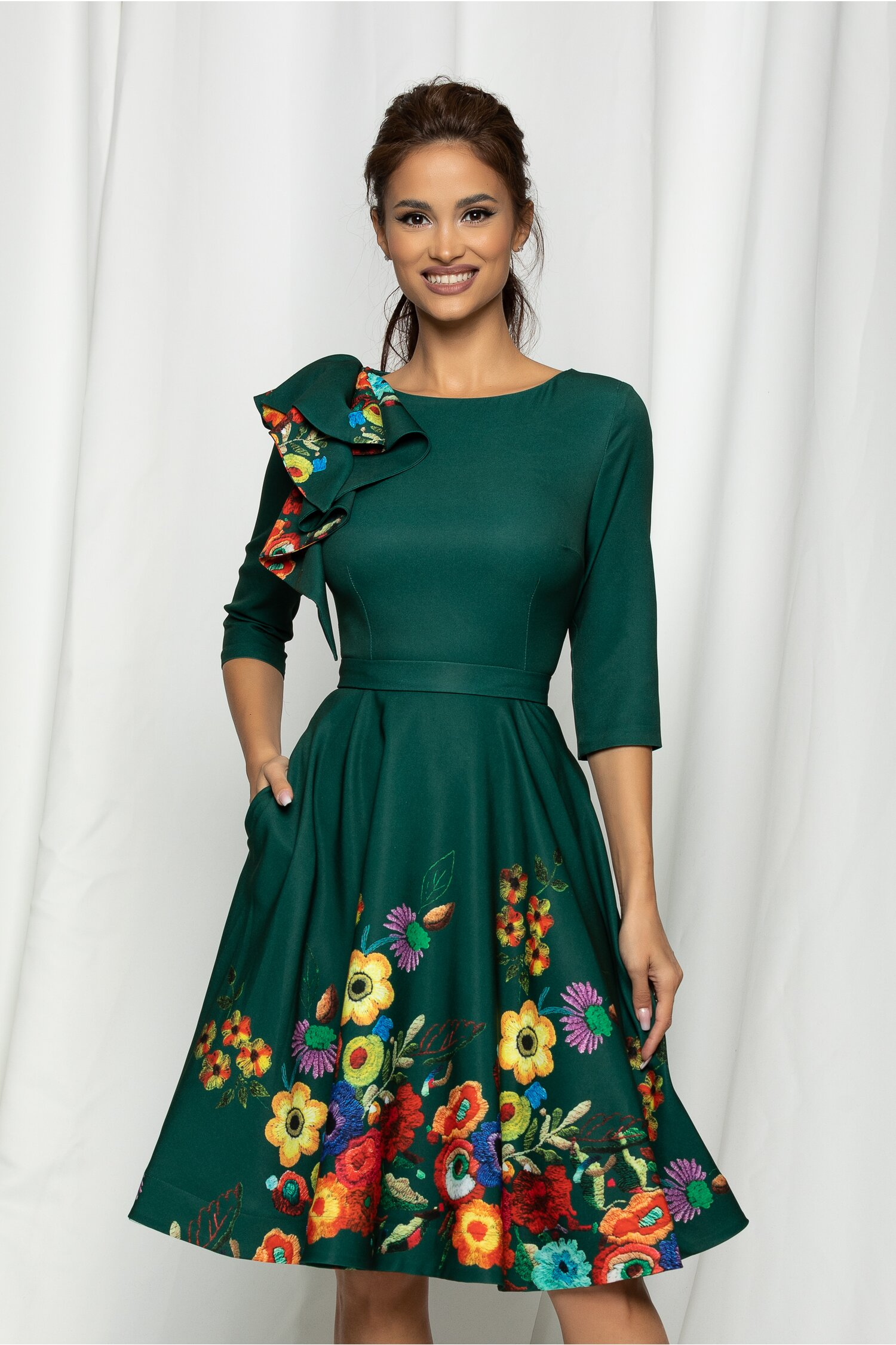 Rochie MBG verde cu imprimeu floral