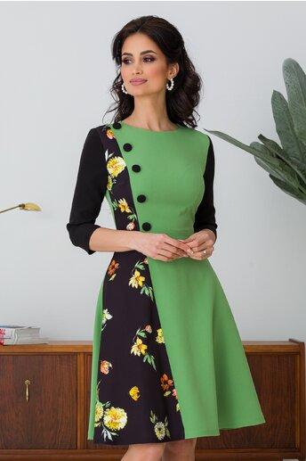 Rochie MBG verde cu imprimeu floral in lateral si nasturi la bust