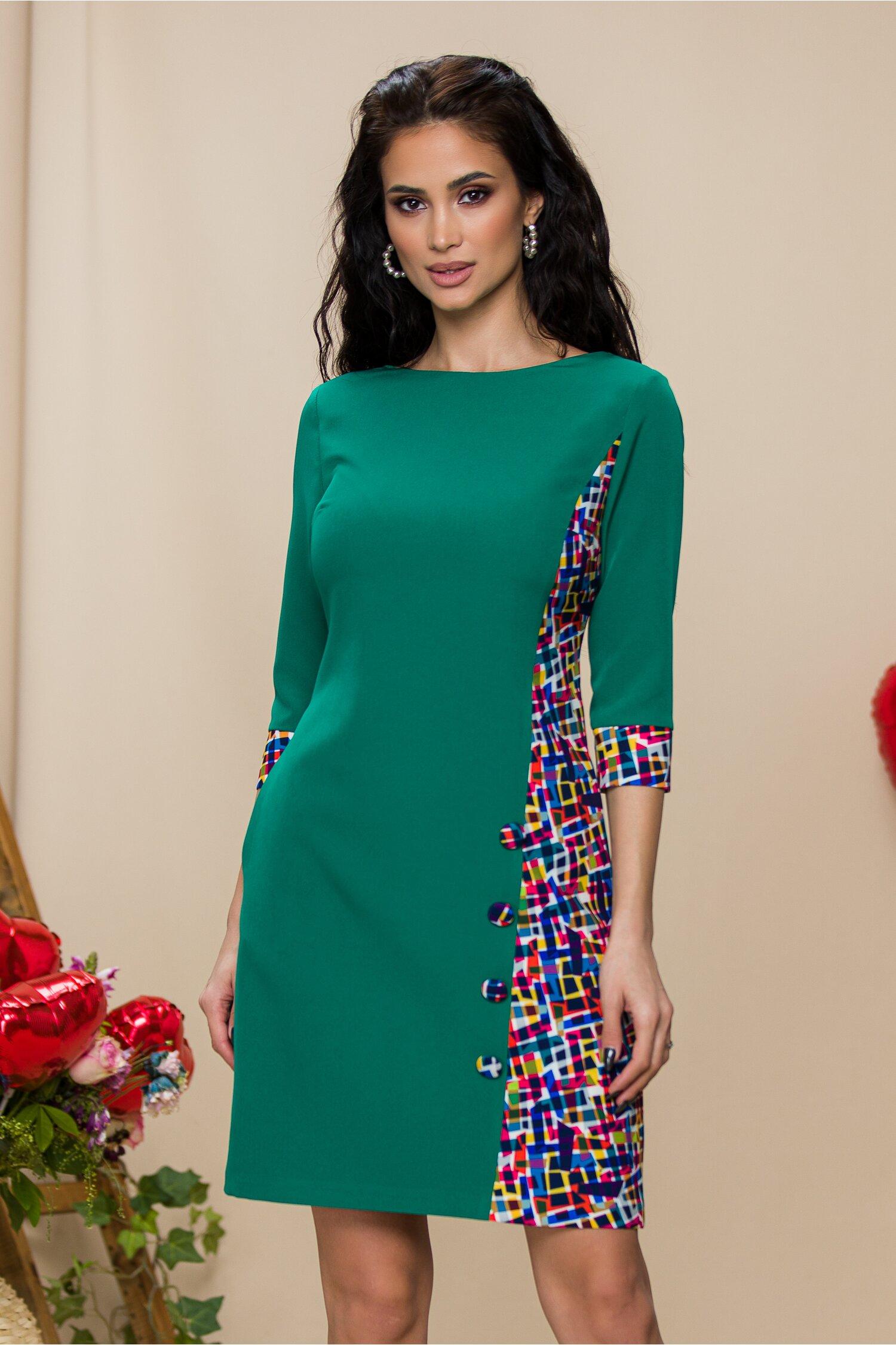 Rochie MBG verde cu imprimeu multicolor lateral