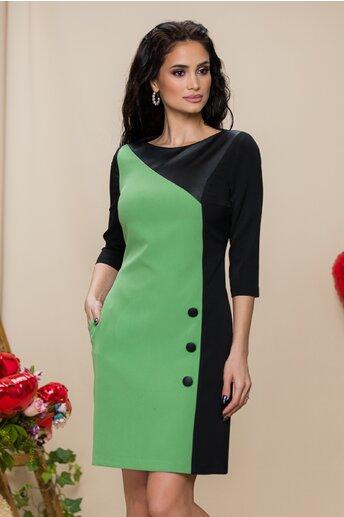 Rochie MBG verde cu nasturi decorativi si design cu piele ecologica