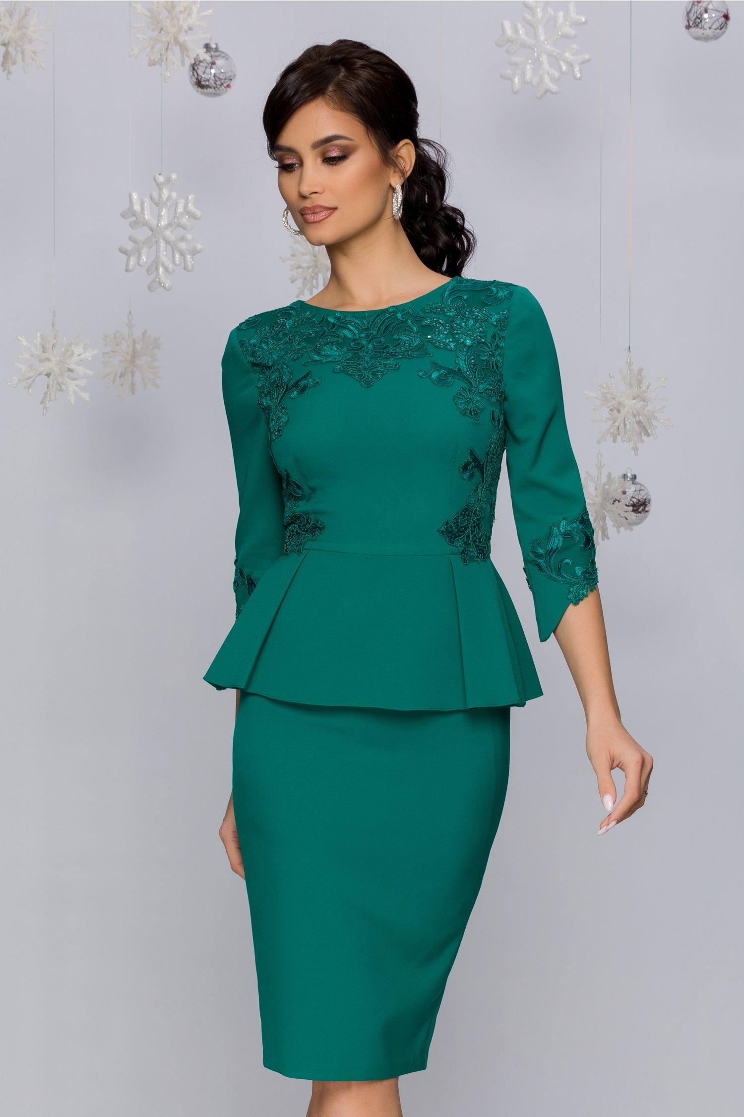 Rochie MBG verde cu peplum si broderie florala cu paiete