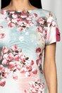 Rochie MBG vernil cu banda magenta si imprimeu floral