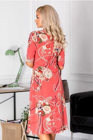 Rochie Medeea midi roz somon cu imprimeu floral