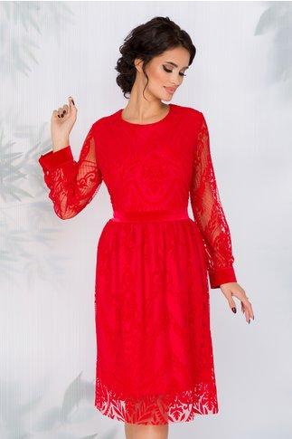 Rochie Medeea rosie din tull cu motive florale catifelate