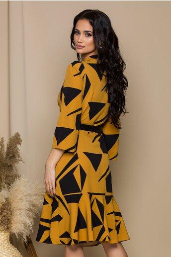 Rochie Megan galben mustar cu imprimeuri negre si decolteu petrecut
