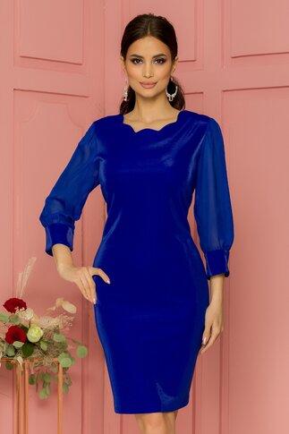 Rochie Megi albastra cu maneci trei sferturi din voal