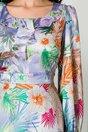Rochie Mela bleu cu imprimeu exotic