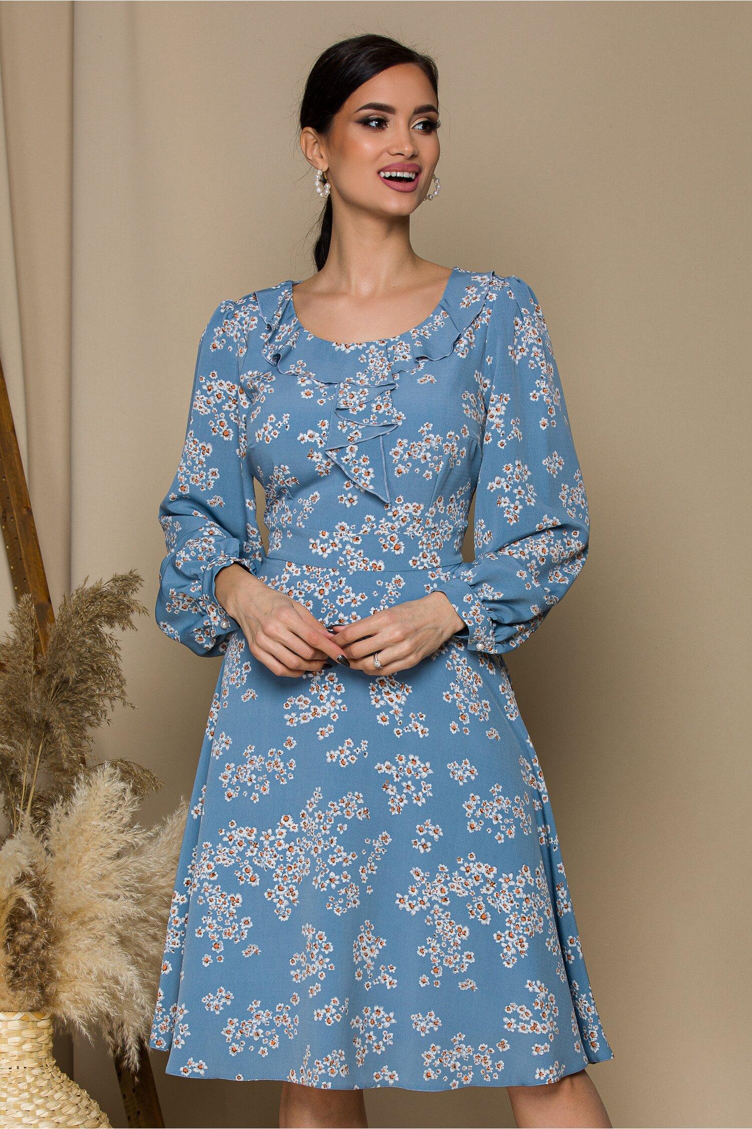 Rochie Mela bleu cu imprimeu floral in nuante de alb
