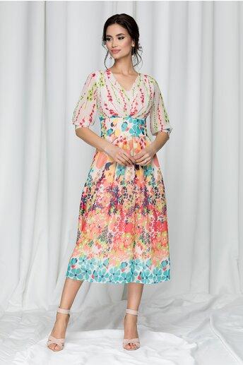 Rochie Melania bej cu imprimeu floral multicolor