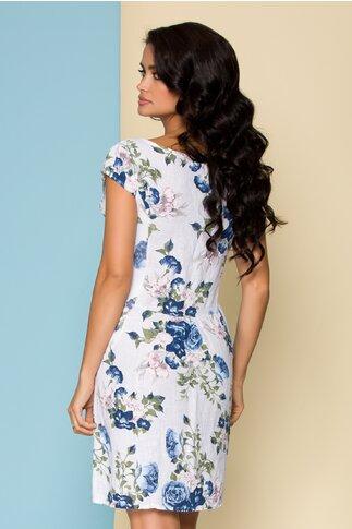 Rochie Melania din in alba cu imprimeu floral albastru