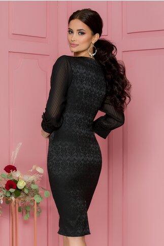 Rochie Melania neagra din brocart cu maneci din voal plisat