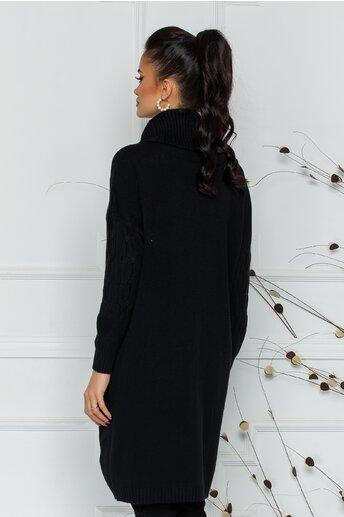 Rochie Melanie neagra din tricot cu guler inalt