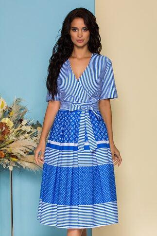 Rochie Melina alba cu dungi albastre si imprimeu floral