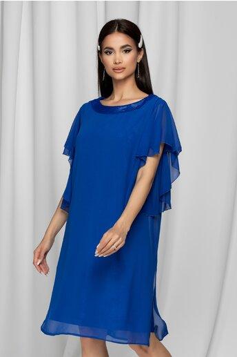 Rochie Melina albastra din lurex acoperit cu voal