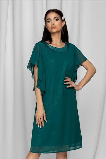 Rochie Melina verde din lurex acoperit cu voal