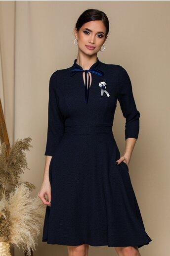 Rochie Melinda bleumarin cu aspect texturat