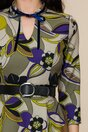 Rochie Melinda kaki cu imprimeuri florale