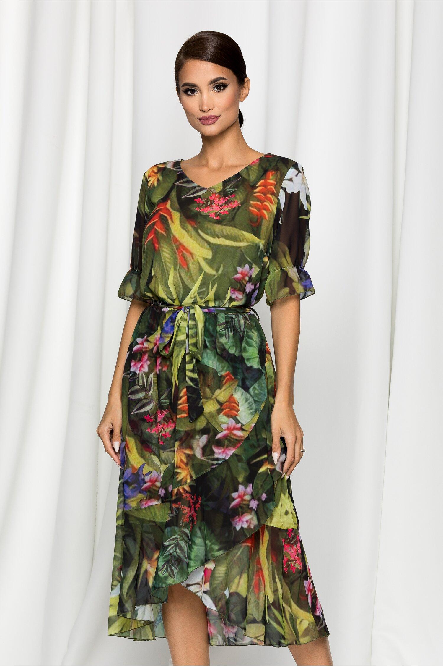 Rochie Melisa verde cu imprimeu floral si volanas la baza