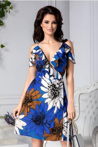 Rochie Melita albastra petrecuta cu imprimeu maro si alb