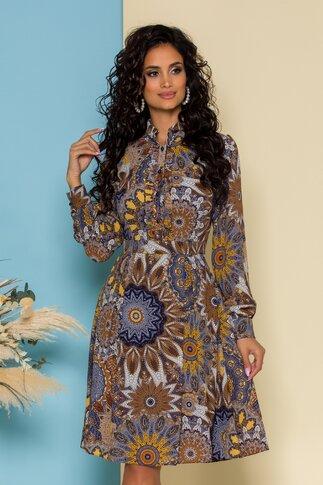 Rochie Mella cu imprimeu tip mandala maro