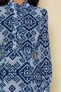 Rochie Mella gri cu imprimeuri bleumarin