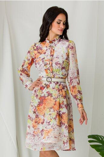 Rochie Mella ivory cu imprimeu floral corai si lila