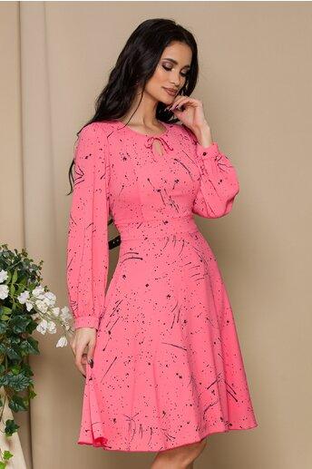 Rochie Mella  roz cu imprimeu divers negru