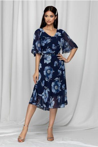 Rochie Melly bleumarin cu imprimeu floral bleu