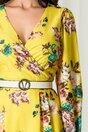 Rochie Melly galbena cu imprimeuri florale