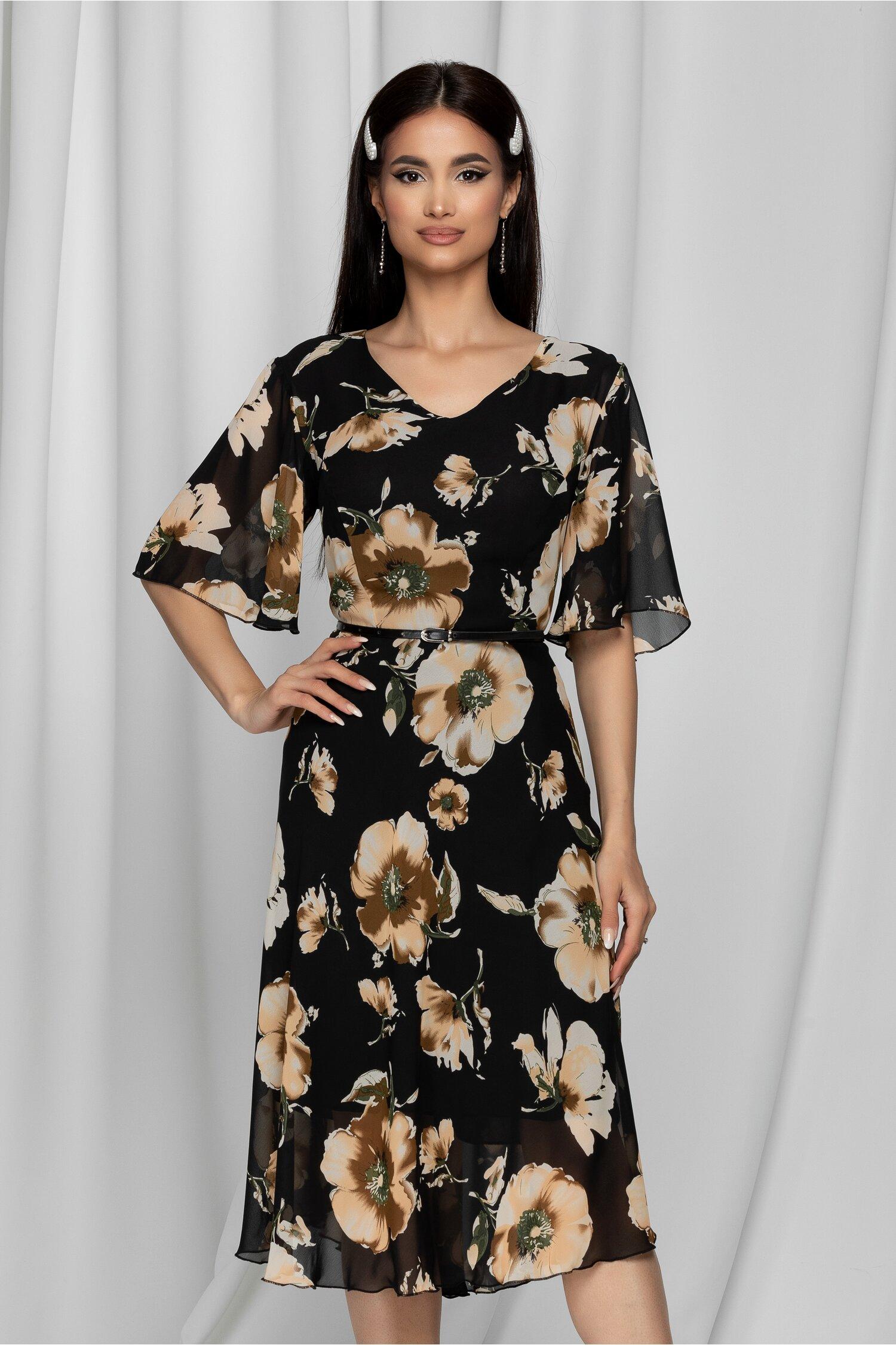 Rochie Melly neagra cu imprimeu floral bej