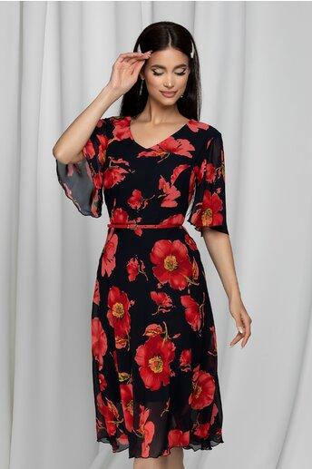Rochie Melly neagra cu imprimeu floral rosu