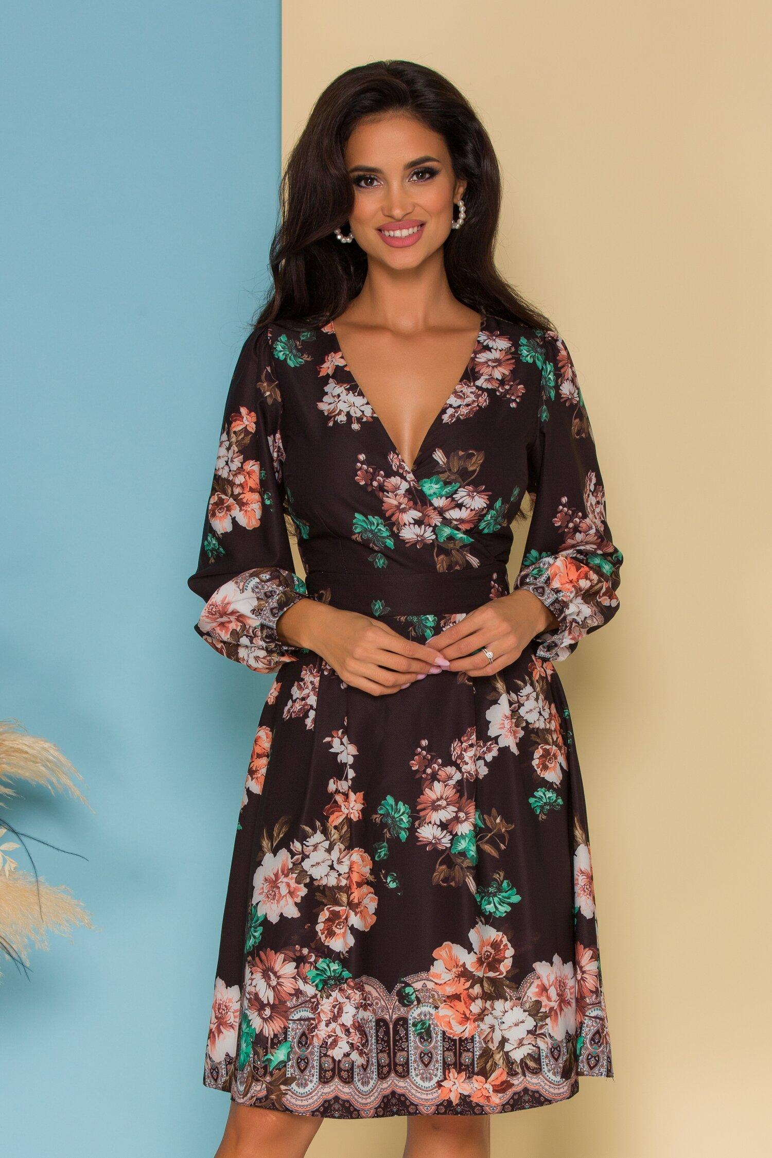 Rochie Melly neagra cu imprimeuri florale