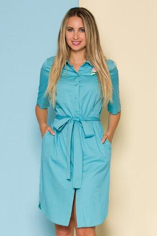 Rochie Mely tip camasa bleu