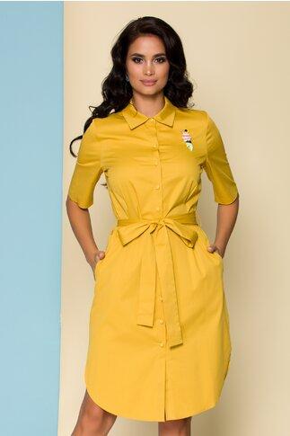 Rochie Mely tip camasa galben mustar