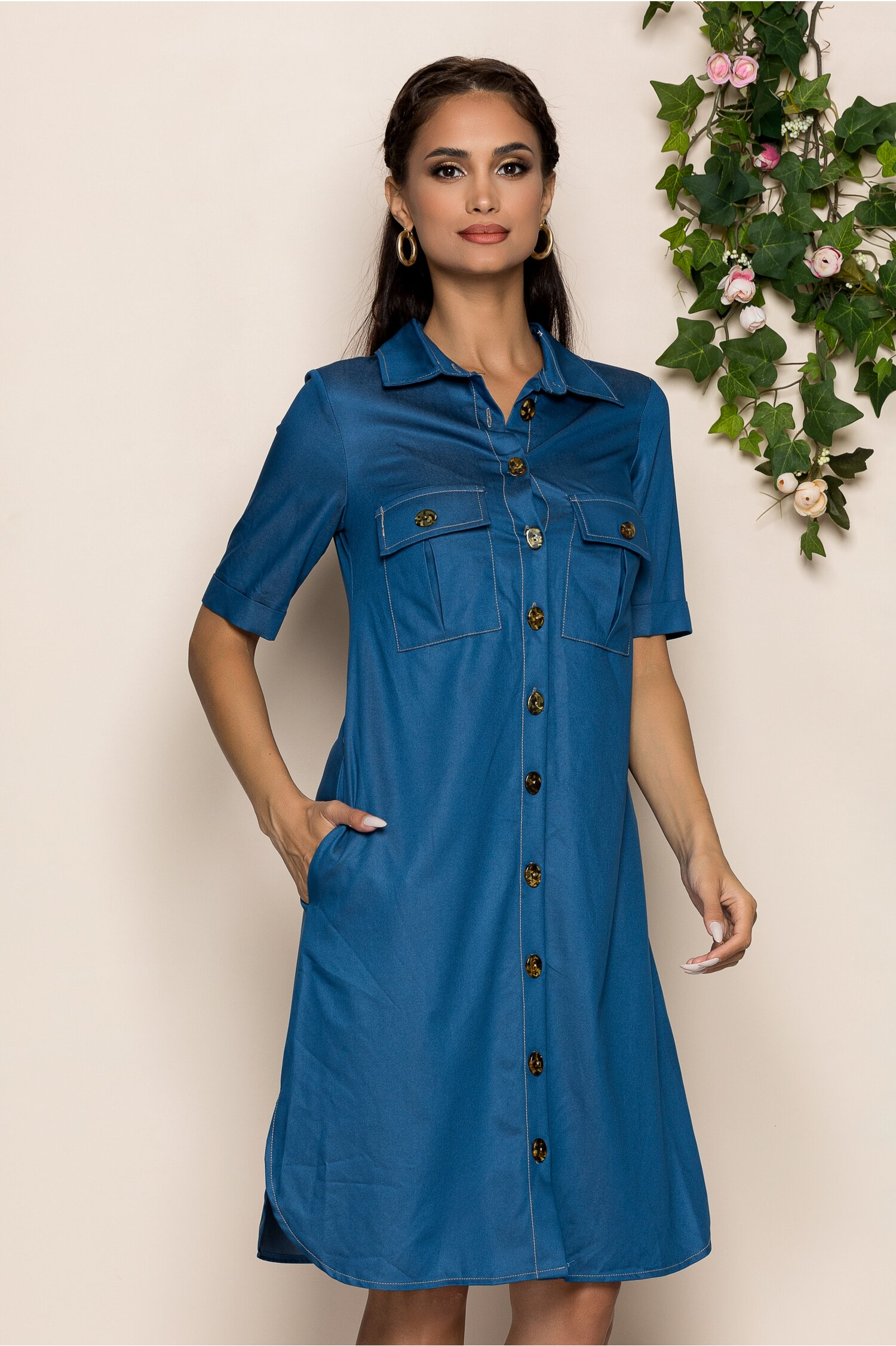 Rochie Merry albastra tip camasa din denim