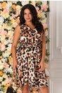 Rochie Mia bej cu imprimeu in nuante de negru, maro si ivoire