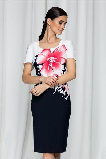 Rochie Mia bleumarin cu imprimeu floral si maneci scurte