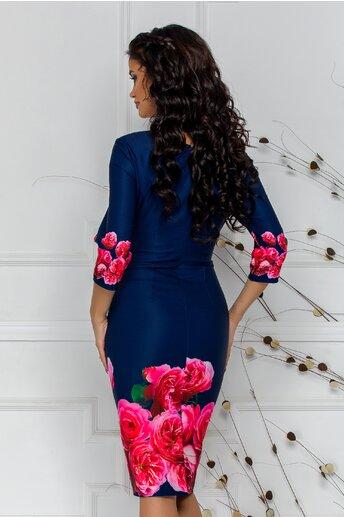 Rochie Mia bleumarin cu trandafiri in nuante de roz