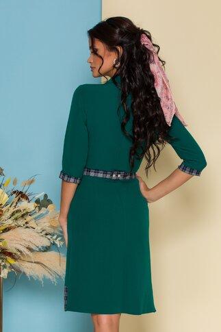 Rochie Mia verde cu detalii in carouri